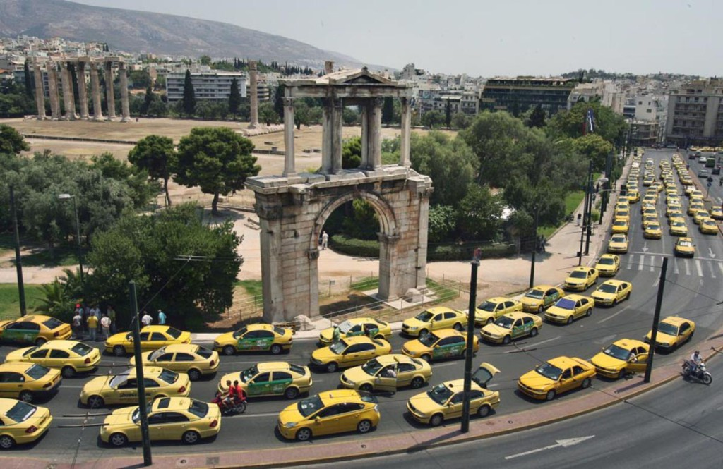 Taxi cabs on strike in Greece